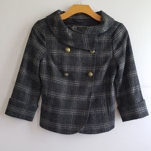 Guess Plaid Double Breasted Wool Jacket XS